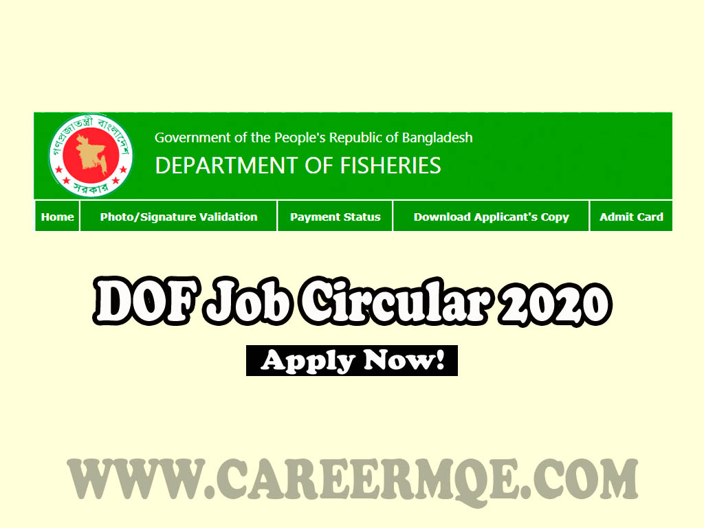 Department of Fisheries Motso Odhidoptor DOF Job Circular 2020, Teletalk Apply Online- www.fisheries.gov.bd-Result.